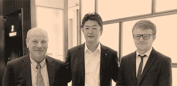 アワーグラス銀座店にてRobert Bray氏(Sinclair Harding (UK) Ltd Managing Director)、ご子息 Stuart Bray氏と